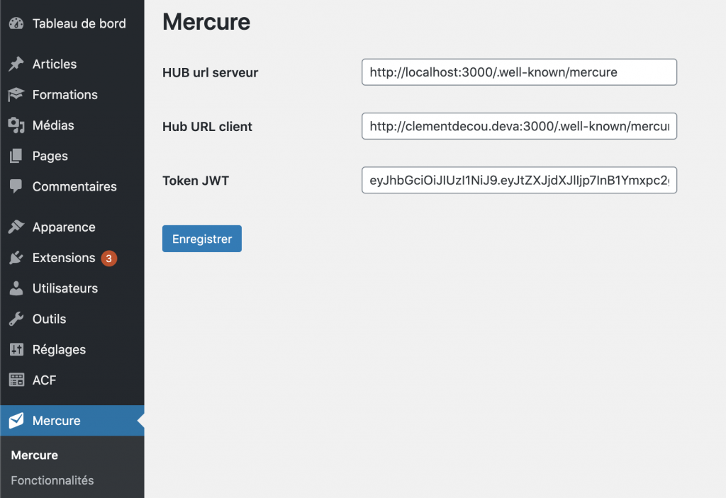 Menu configuration du plugin WP Mercure